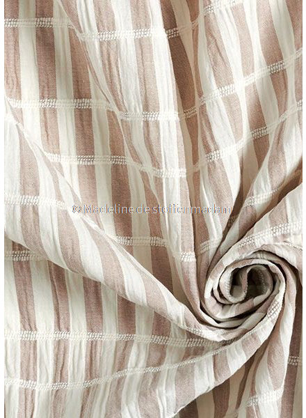 taupe stripes - cotton  with embroidered lines