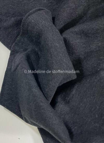M zwart - rekbare gebreide linnen viscose mix