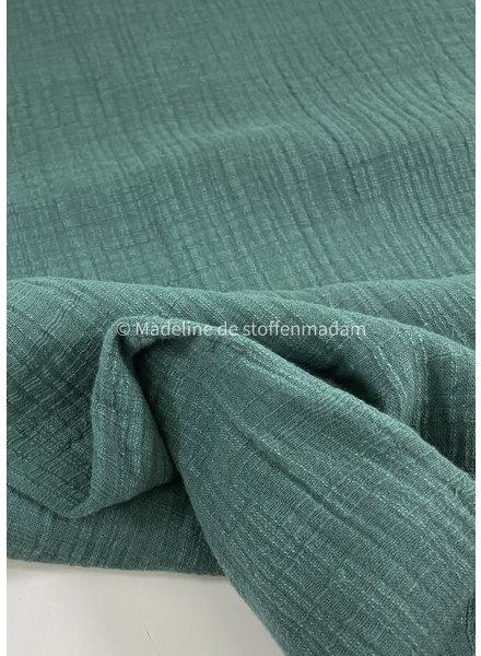 M linnen katoen mix double gauze / effen tetra - donker balsam groen