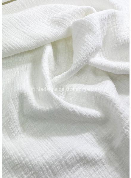 M linen cotton mix double gauze / tetra - creme