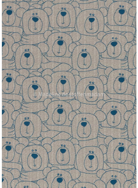 Swafing sweet bears blue-offwhite chevron - french terry