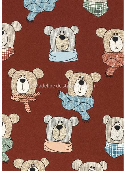 Swafing teddy bears - chevron - french terry - stone