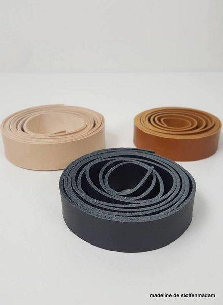 cognac leather handles - 24 mm