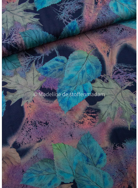 M turquoise watercolor leaves - woven viscose