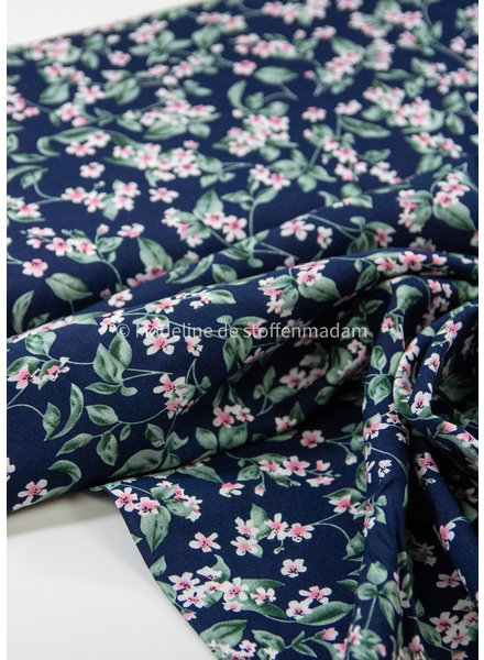 M pink flowers on navy blue - woven viscose