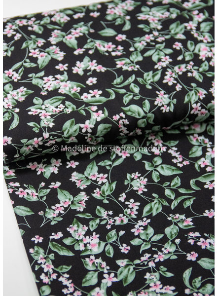 M pink flowers on black - woven viscose
