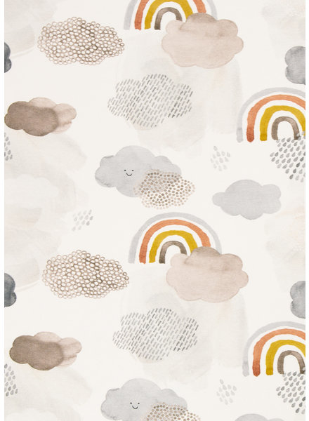 Swafing Smiling cloud and rainbows - jersey - white