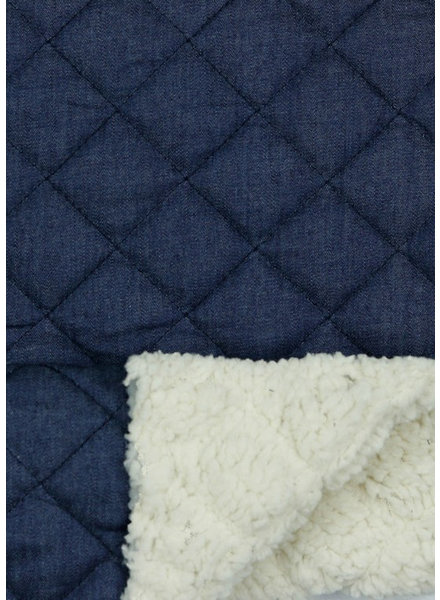 M denim quilted fabric with teddy