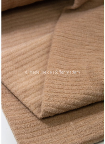 M camel textured - coat fabric 40% wool