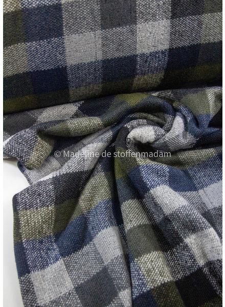 Editex khaki navy squares double face - coat fabric