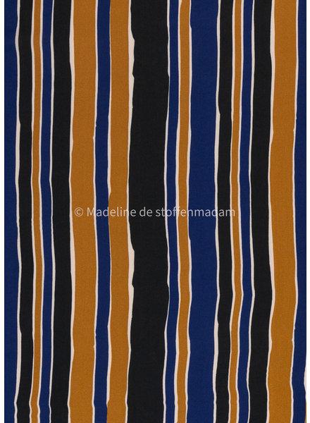 Swafing cobalt blue and cognac lines - viscose