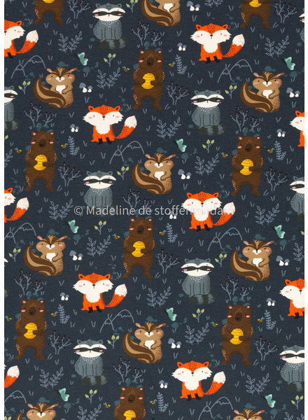 Swafing animals in the wood - french terry - navy blue