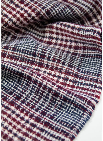 burgundy navy - jacquard coat fabric