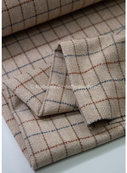 A La Ville diamonds creme / blue / rust - coat fabric