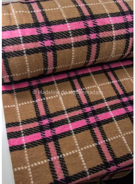 M camel checks pink - coat fabric