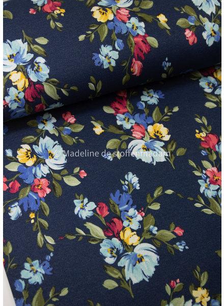 M denim - vintage flower - happy fleece / jogging