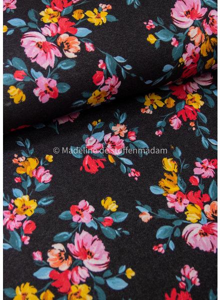 M zwart - vintage flower - happy fleece / jogging