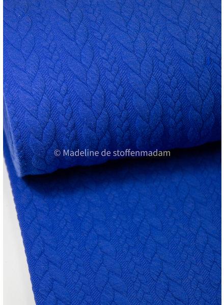 M kobalt - sweater met kabelstructuur