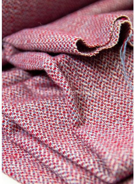 Editex Herringbone - shades of red - beautiful woolen fabric