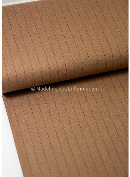 M camel vertical stripes - tweed fabric