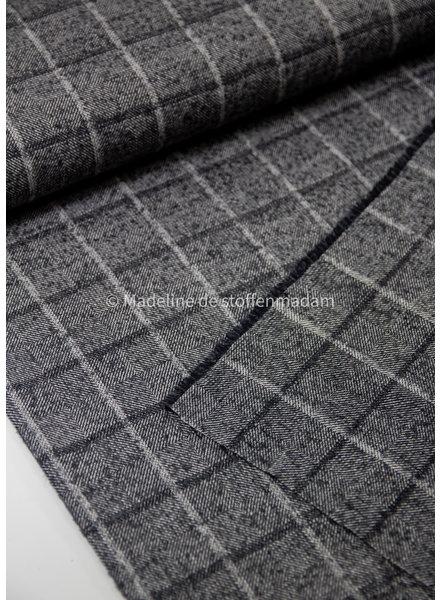 Editex donkergrijs  ruiten - warme stof