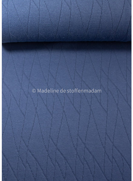 M organic jacquard geometric - jeansblauw