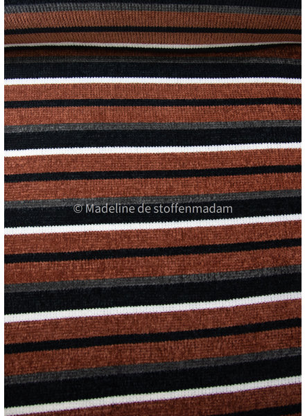 M brown striped chenille - very soft