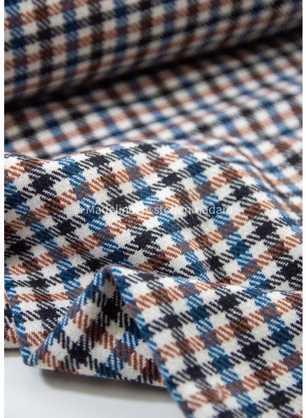 Bittoun classy squares cognac/blue - coat fabric