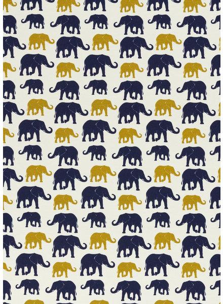 Swafing oker/blauw olifanten - tricot