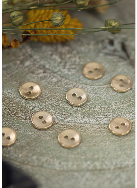 See You at Six Button 10 mm - Metal Smooth Soft Gold