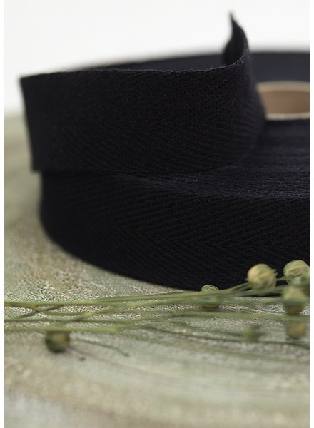 See You at Six Twill Tape - Cotton - Black