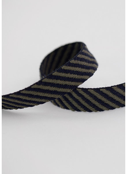 See You at Six Webbing -  Cotton - Diagonal - Dark Blue Khaki