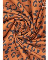 Fibremood denim leopard print zwart op cognac - Alida Flora