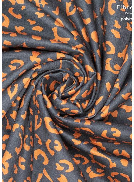 Fibremood denim leopard print cognac op zwart - Alida Flora