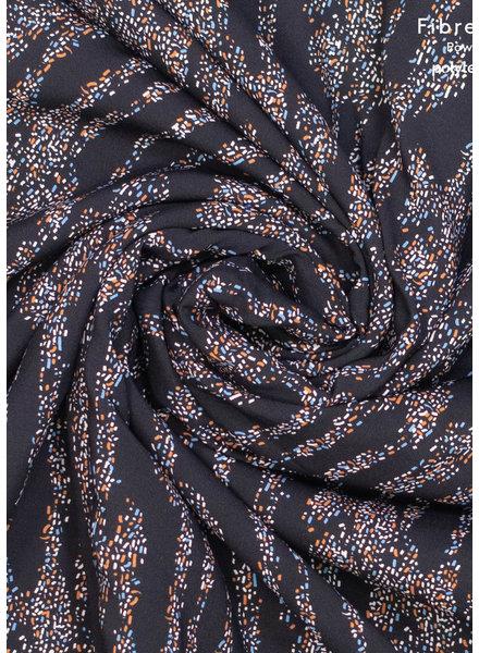 Fibremood snippertjes viscose - zwart blauw roest - Doris Tilda