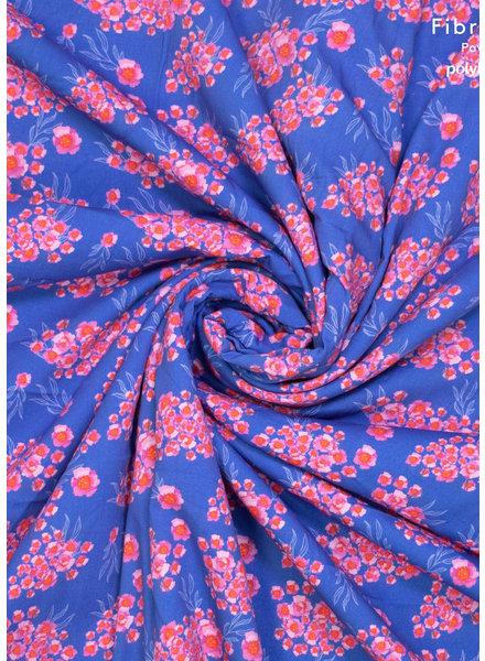 Fibremood roze bloemen viscose katoen mix - Ermine