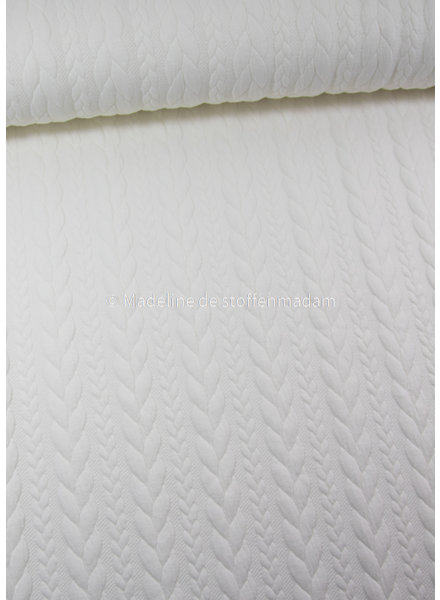 M cloud white - sweater with cable texture