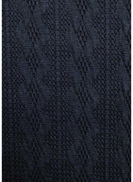 M marineblauw - fijne gebreide stof met kabelstructuur