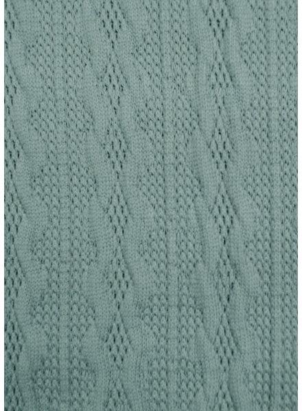 M dusty blauw- fijne gebreide stof met kabelstructuur