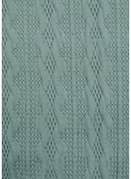 M dusty blue- light knitted fabric with cable texture