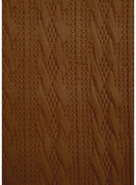 M cognac - fijne gebreide stof met kabelstructuur
