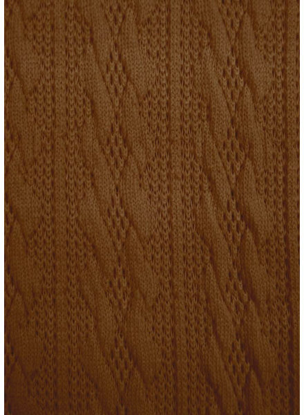 M cognac - light knitted fabric with cable texture