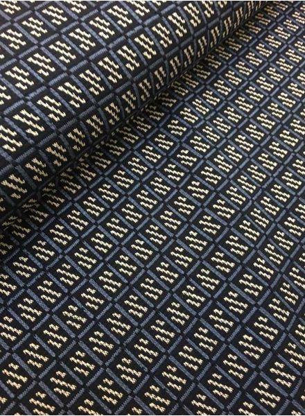 rekbare jacquard - squares blue