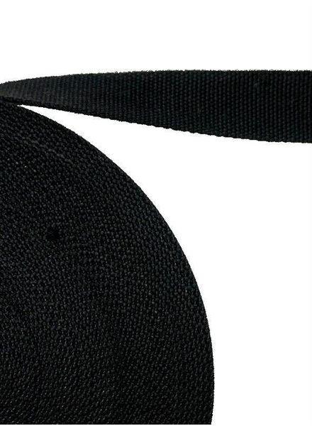 cotton webbing black 30 mm