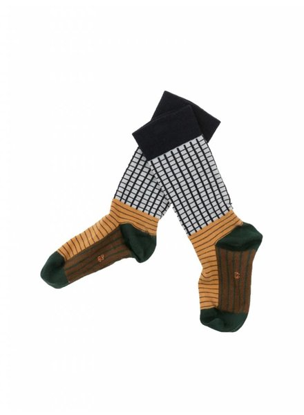Tiny Cottons grid & lines high socks