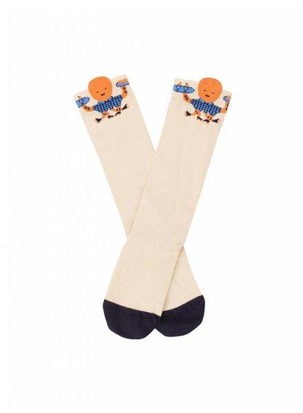 Tiny Cottons 'octopus' high socks - stone/brick/cerulean blue