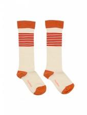 Tiny Cottons Stripes high socks - offwhite/carmin