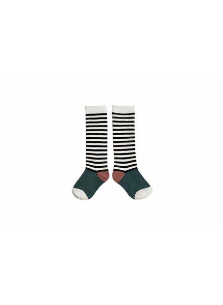 Sproet & Sprout Socks Stripe Milk & Black & Forrest Green & Dark Cedar