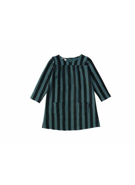 Sproet & Sprout Sweat Dress Black & Forrest Green Stripe