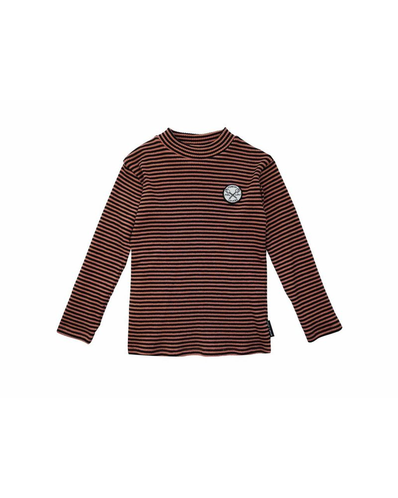 Sproet & Sprout ! T-Shirt Turtle Neck Marshmallow Badge Black & Cedar Stripe